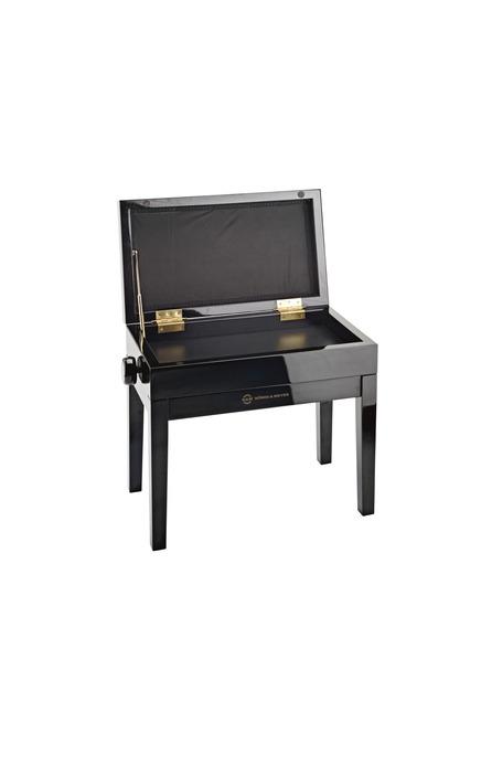 K&M 13950 Klavierbank mit Notenfach Bank schwarz poliert, Sitz Samt schwarz