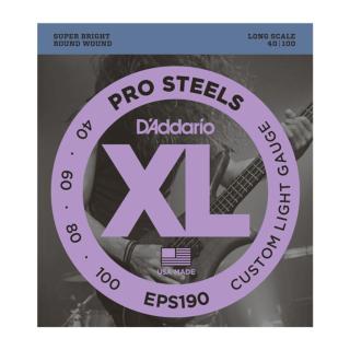 DAddario EPS190 ProSteels Saiten für Bassgitarre, Custom Light, 40-100, Long Scale