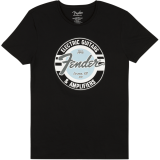 Fender Guitar and Amp Logo Men's Tee, Black/Daphne Blue, Medium